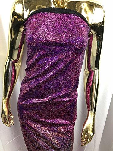 Lycra Spandex Fabric - Magenta - Iridescent 4 Way Stretch Foil Metallic 60