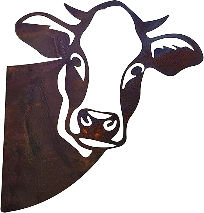 Metal Cow Peeking Yard Art, Farms Peep At Cattle Garden Decoration, Lifelike Hollow Out Cow Decor Farmhouse Decor Outdoor Indoor (A)