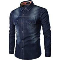 OHQ Jeanshemden Herren Langarm Denim Hemden Freizeit Shirts Regular Fit Hemden