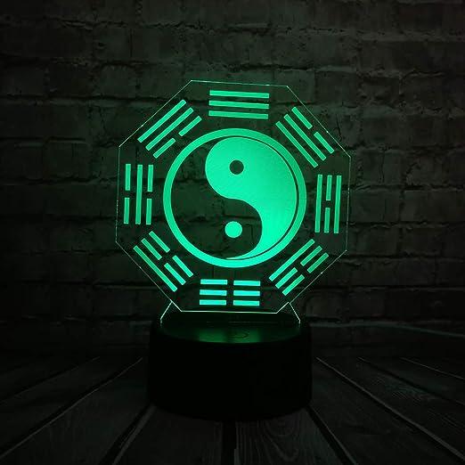 3d Illusion Nachtlicht 3d Optische T/äuschung Tisch Schreibtischlampe//Weihnachten Halloween Geburtstagsgeschenk//Bagua WangZJ Kinder Nachtlicht