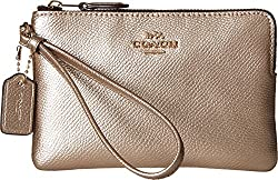 COACH Women's Box Program Metallic Corner Zip LI/Platinum Clutch
