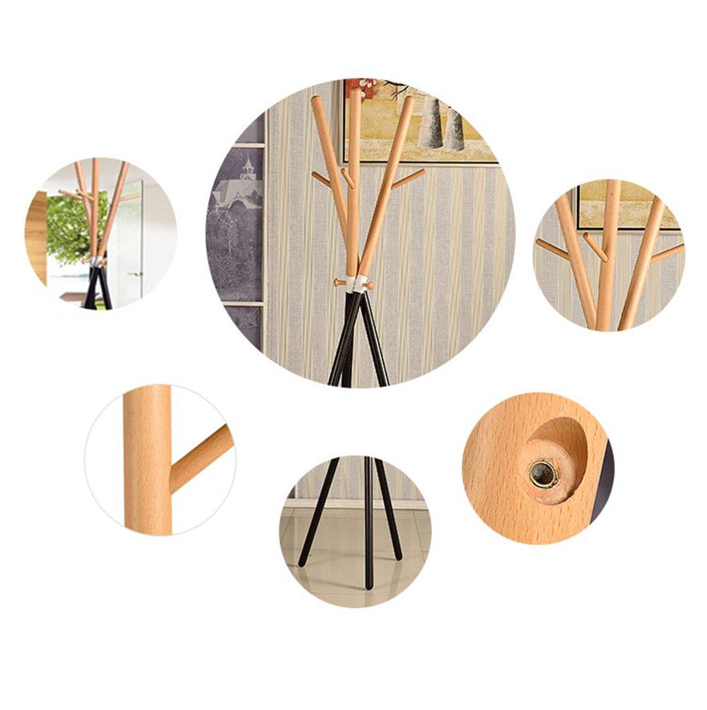 Solid wood coat rack / floor fashion coat rack / bedroom hallway clothes rack / two-color wood color, mahogany color (52 52 175cm) ( Color : Wood color )