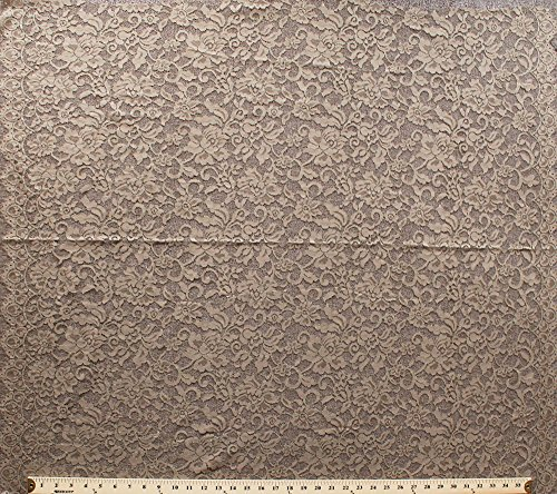 40inch x 36inch Lace Panel Gold Metallic Tan Floral Double Scalloped Edges Polyester Fabric by the Panel (z-5k-tan)