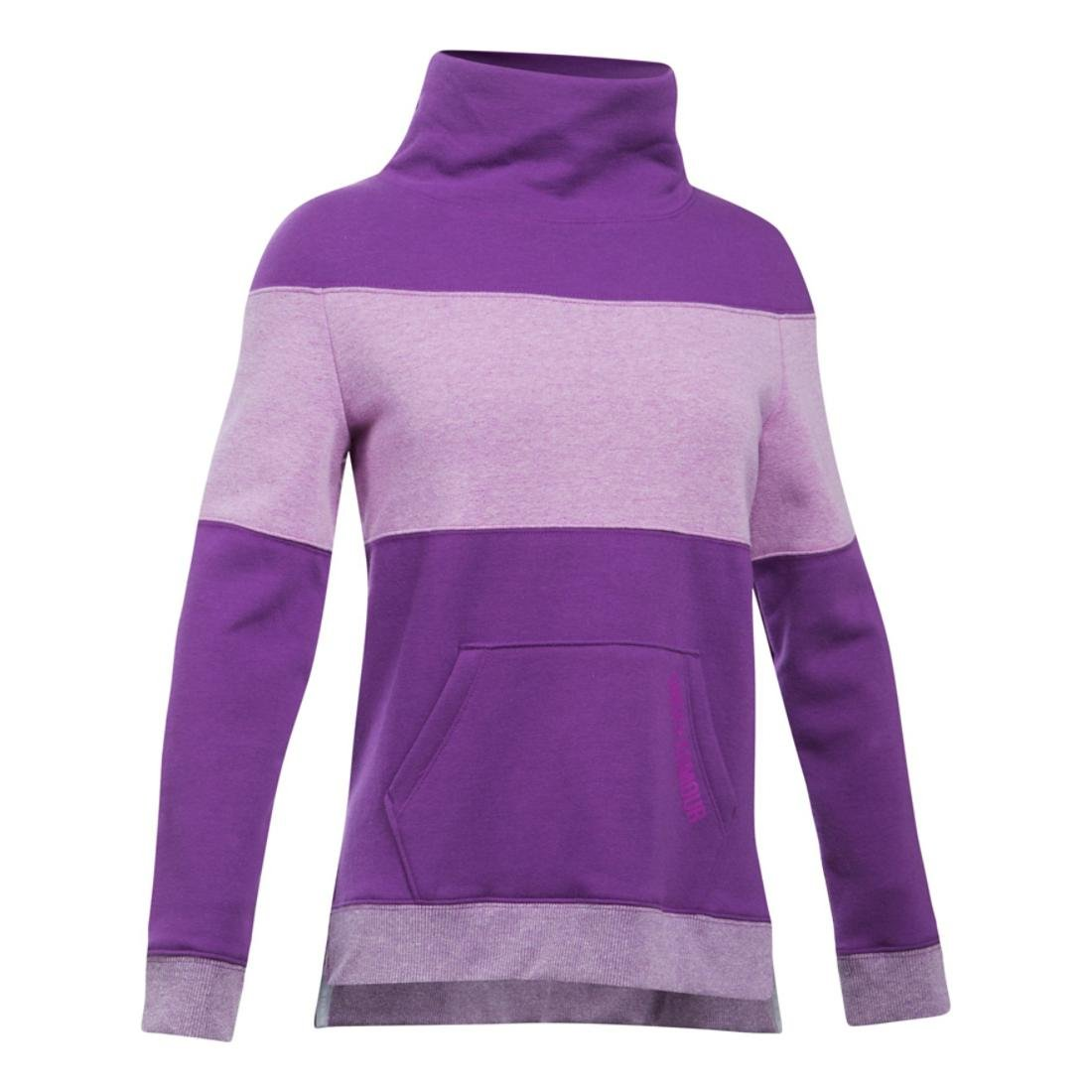 Under Armour Girls' Threadborne Fleece Slouchy Crew,Indulge (547)/Purple Rave, Youth Small