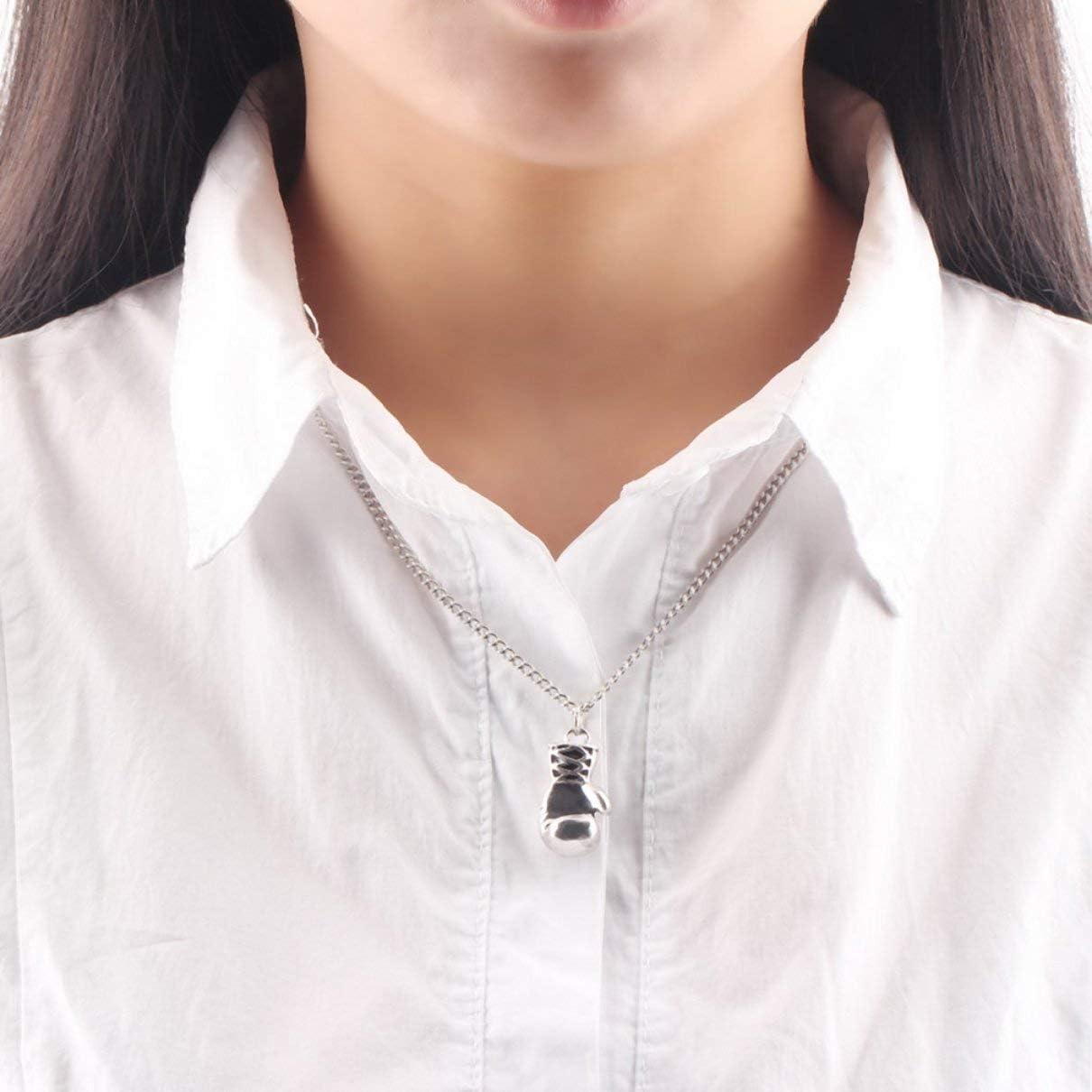 Color: 0 Hanmarigold Mujer de aleaci/ón de Color Siver Larga Tira de Guantes de Boxeo de los Hombres en Forma de joyer/ía de la Cadena Collar Colgante de Cadena de Palomitas de ma/íz con Encanto