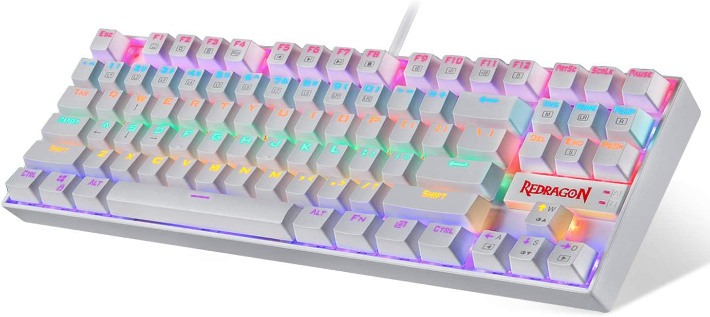 Redragon Teclado mecánico para juegos RGB LED Rainbow Retroiluminado Teclado con cable con interruptores rojos para Windows Gaming PC, Blanco