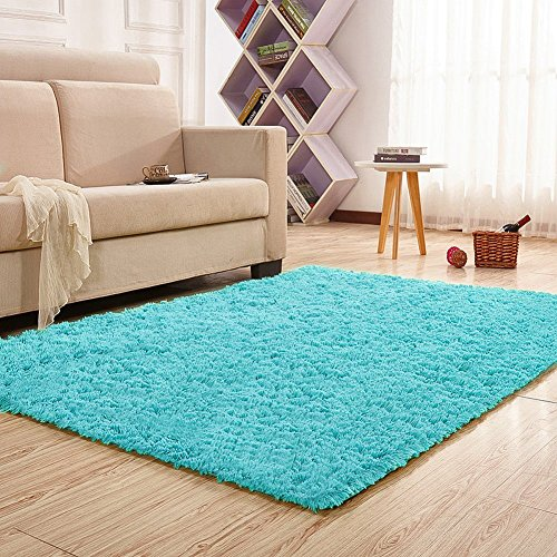 Noahas Super Soft Modern Shag Area Rugs Fluffy Living Room Carpet Comfy Bedroom Home Decorate Floor Kids Playing Mat 4 Feet by 5.3 Feet,Blue (Kids Shag Rugs)