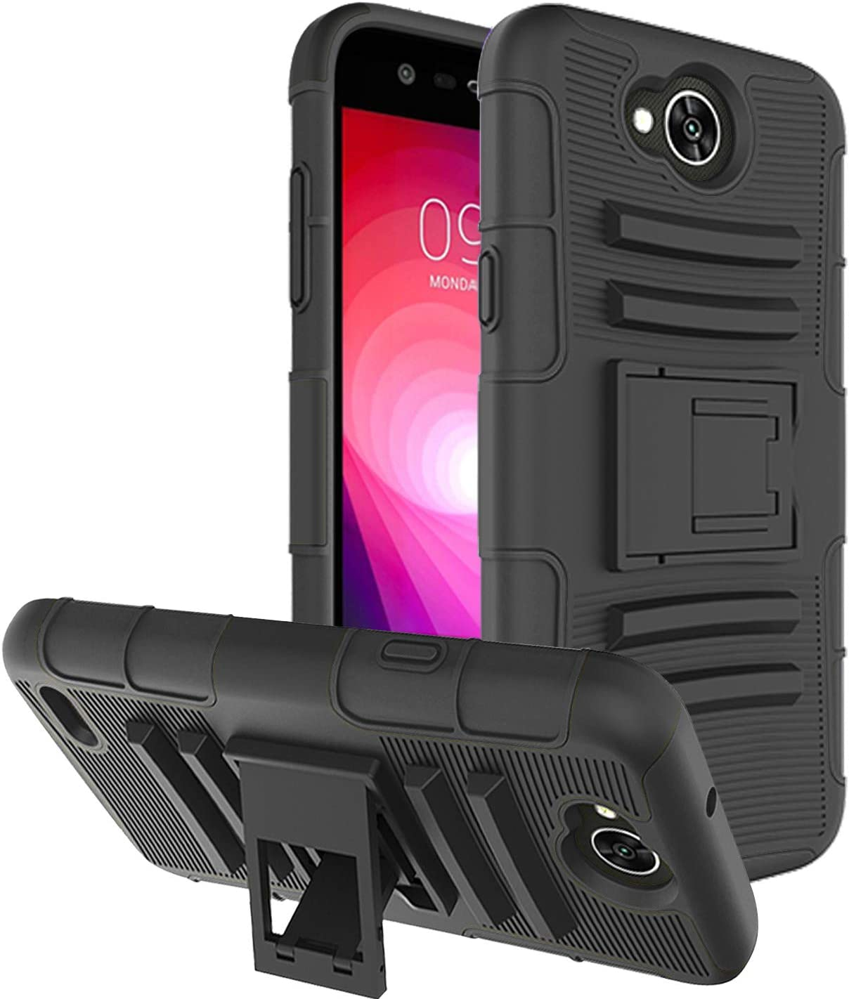 LG Fiesta Case, LG Fiesta 2 Case, LG X Charge Case, LG X Power 2 Case with [Built in Kickstand], Fordesign Durable Rugged Heavy Duty [Dual Layer] Full Protection Hard Shockproof Phone Case Cover-Black
