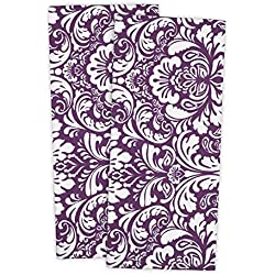 "Cotton Damask Kitchen Dish Towels, 28 x 18"" Set of 2, Low Lint Decorative Tea Towel for Everyday Cooking and Baking-Eggplant"