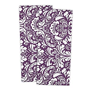 DII 100% Cotton, Everyday Basic Kitchen Dishtowel, Tea Towel, Drying, Damask Printed, 18 x 28  Set of 2- Eggplant
