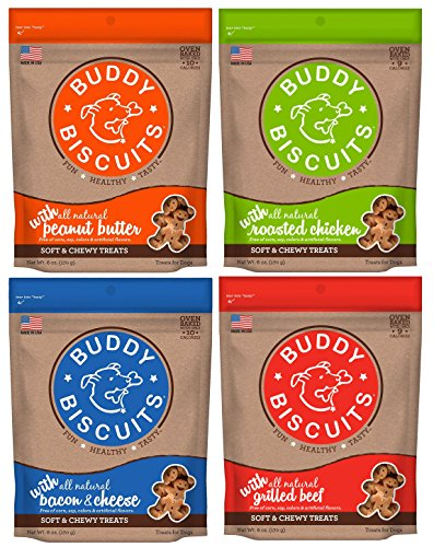 (Buddy Biscuits Soft & Chewy Dog Treats Variety Pack Chicken - Beef - Bacon & Cheese - Peanut Butter (4 Pack) 6 oz)