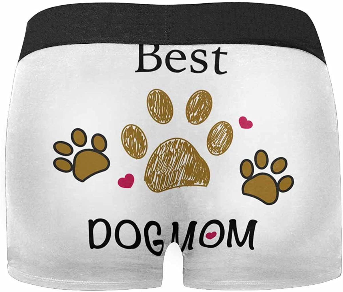 XS-3XL INTERESTPRINT Mens Boxer Briefs Brown Paw Print with Hearts