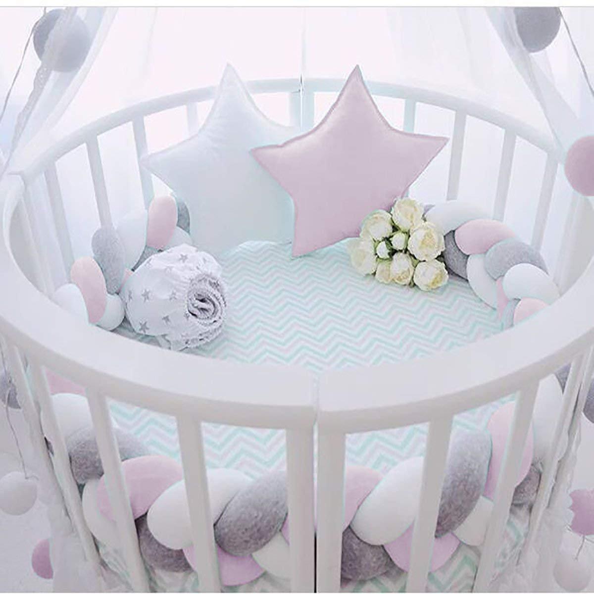 Bettumrandung Babybett L/änge 2M Baby Nestchen Bettumrandung Weben Geflochtene Sto/ßf/änger Dekoration f/ür Krippe Kinderbett Wei/ß grau blau