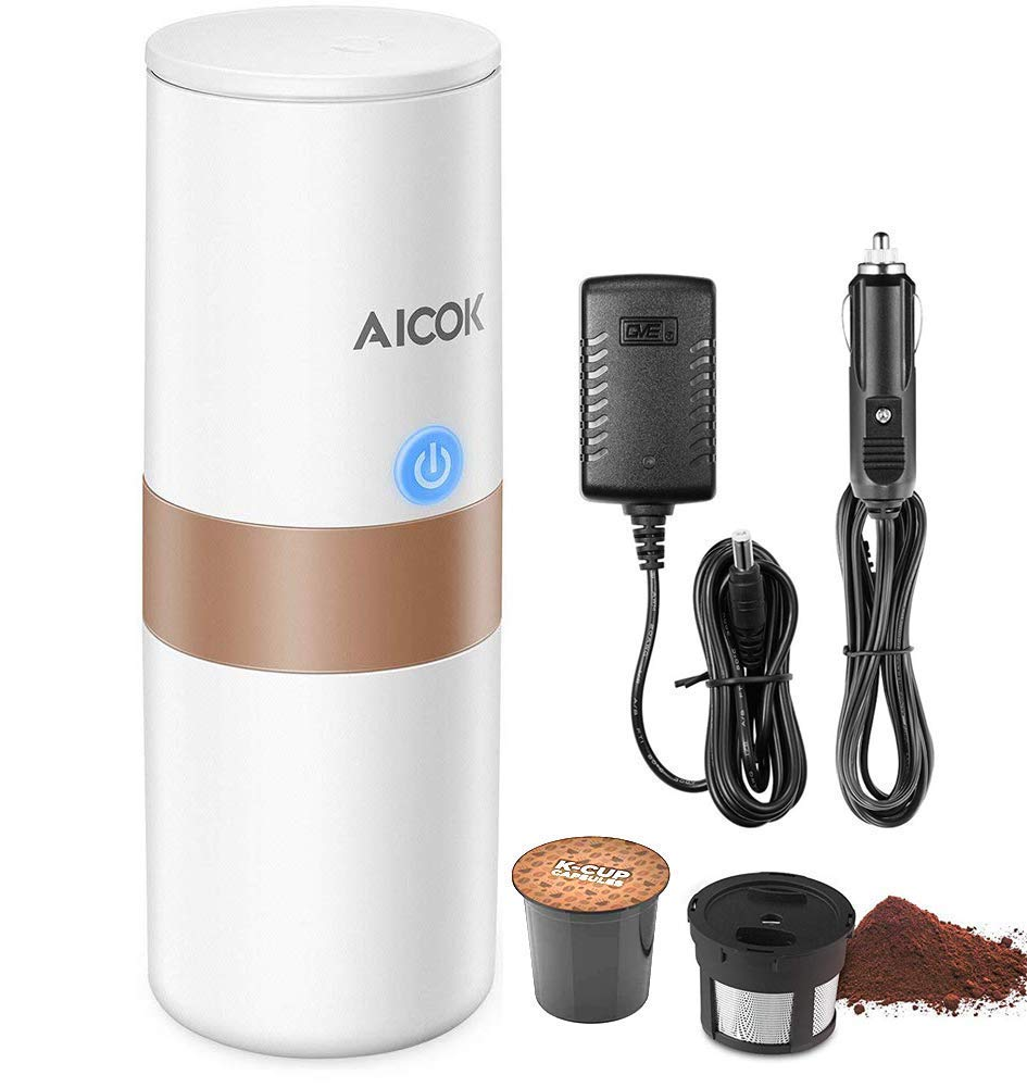 Portable Single Serve Coffee Maker, 2 in 1 Coffee Machine for for Most Single Cup Pods including K-Cup Pods, With Reusable K Cup Filter, Rechargeable Battery, Perfect for Camping, Travel by AICOK
