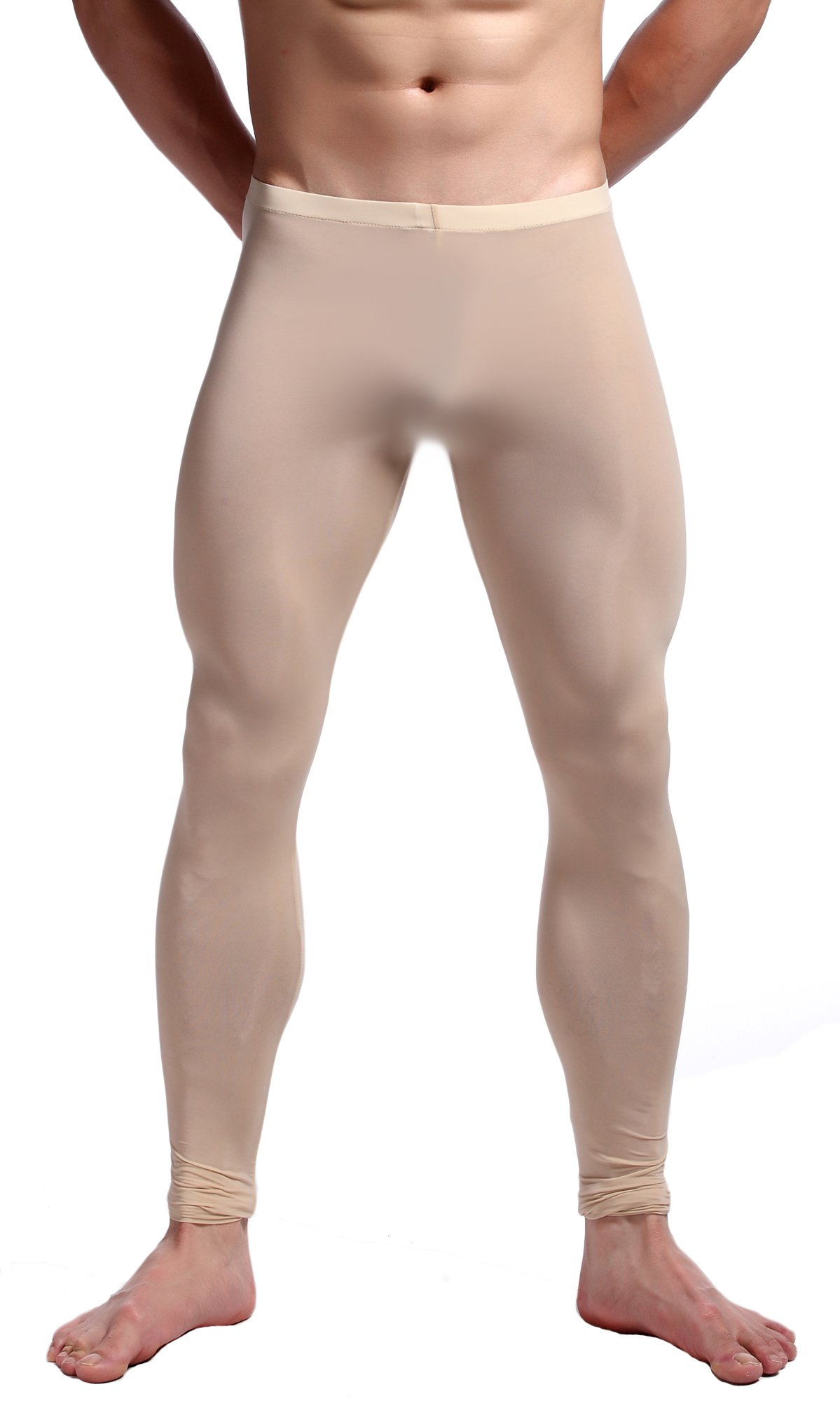 WUAMBO Men's Mesh Long Johns Slim Sexy Legging Tights Begie US Large by WUAMBO