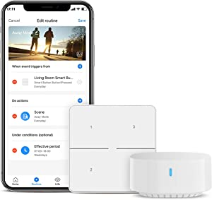 BroadLink Smart Button, 3 Way Control with IFTTT and Alexa Routines for Home Automation, Wireless Trigger Smart Home Devices and Scenes, S3 Hub Included