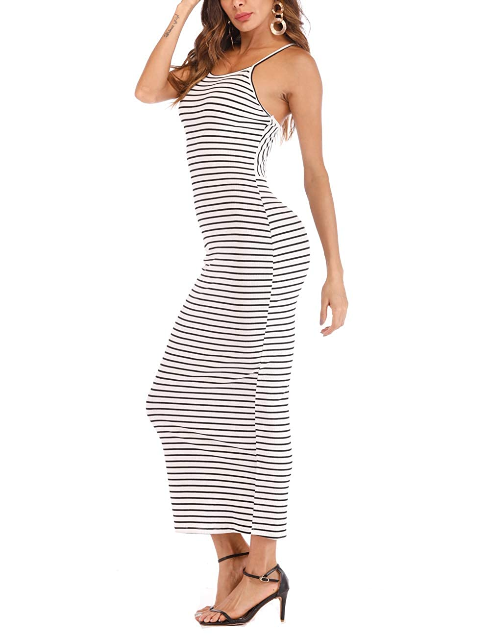 Black&white Stripe Haola Womens Sexy Club Dress Stripe Backless Sleeveless Bodycon Party Casual Long Dresses