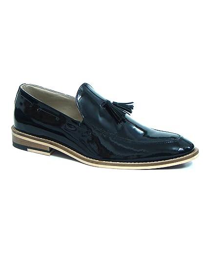 Unknown HU102 - Mocasines de Charol para Hombre Negro Negro, Color Negro, Talla 44: Amazon.es: Zapatos y complementos