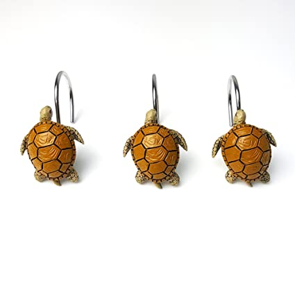 Image Unavailable Not Available For Color ZILucky 12Pcs Resin Turtle Shower Curtain Hooks
