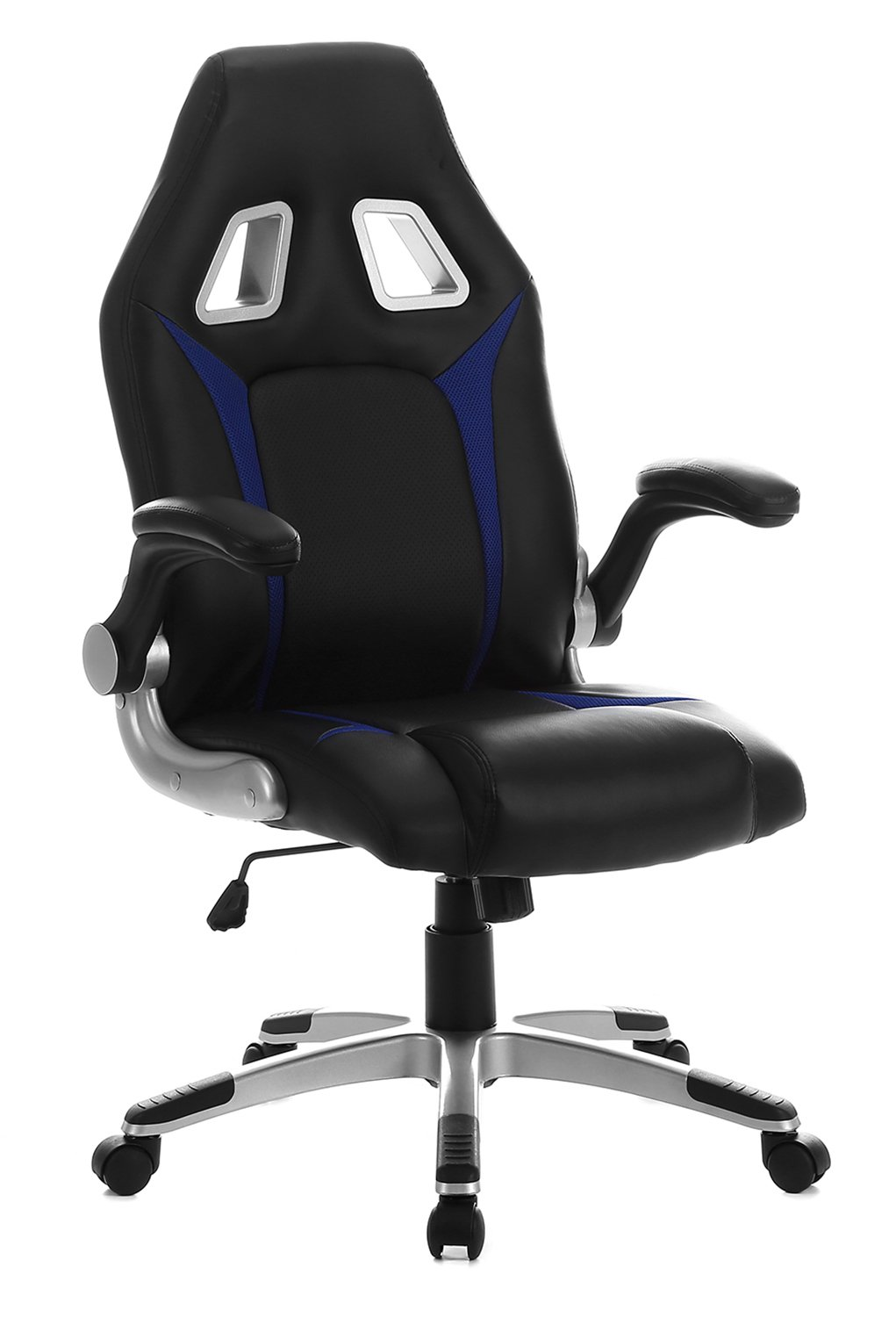 SEATZONE Racing Car Style Gaming Chair with Thick Padded Bucket Seat and Flip-Up Armrest for Home, Office, Video Game Room, Computer Desk, Leatherette, Blue
