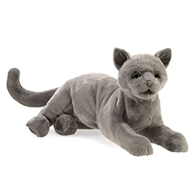 "Folkmanis Purring Cat Hand Puppet, Gray, 8"": Toys & Games"