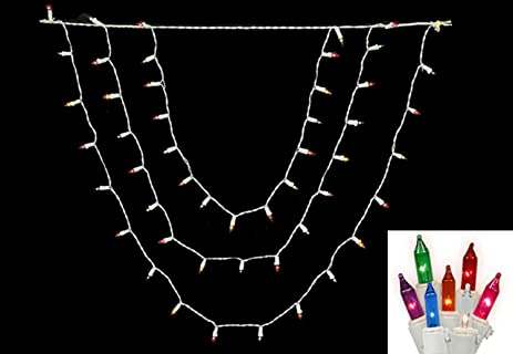 vickerman multicolored swag mini christmas lights with white wire set of 150 - Christmas Swag Lights