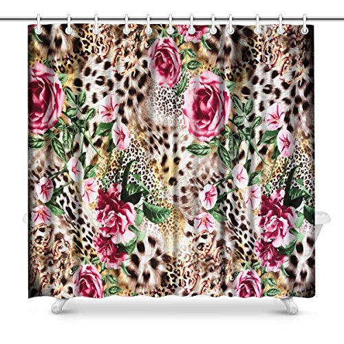 - InterestPrint Striped Leopard and Flower Prints Shower Curtain for Bathroom Decorations Sets, 72 x 72 Inches