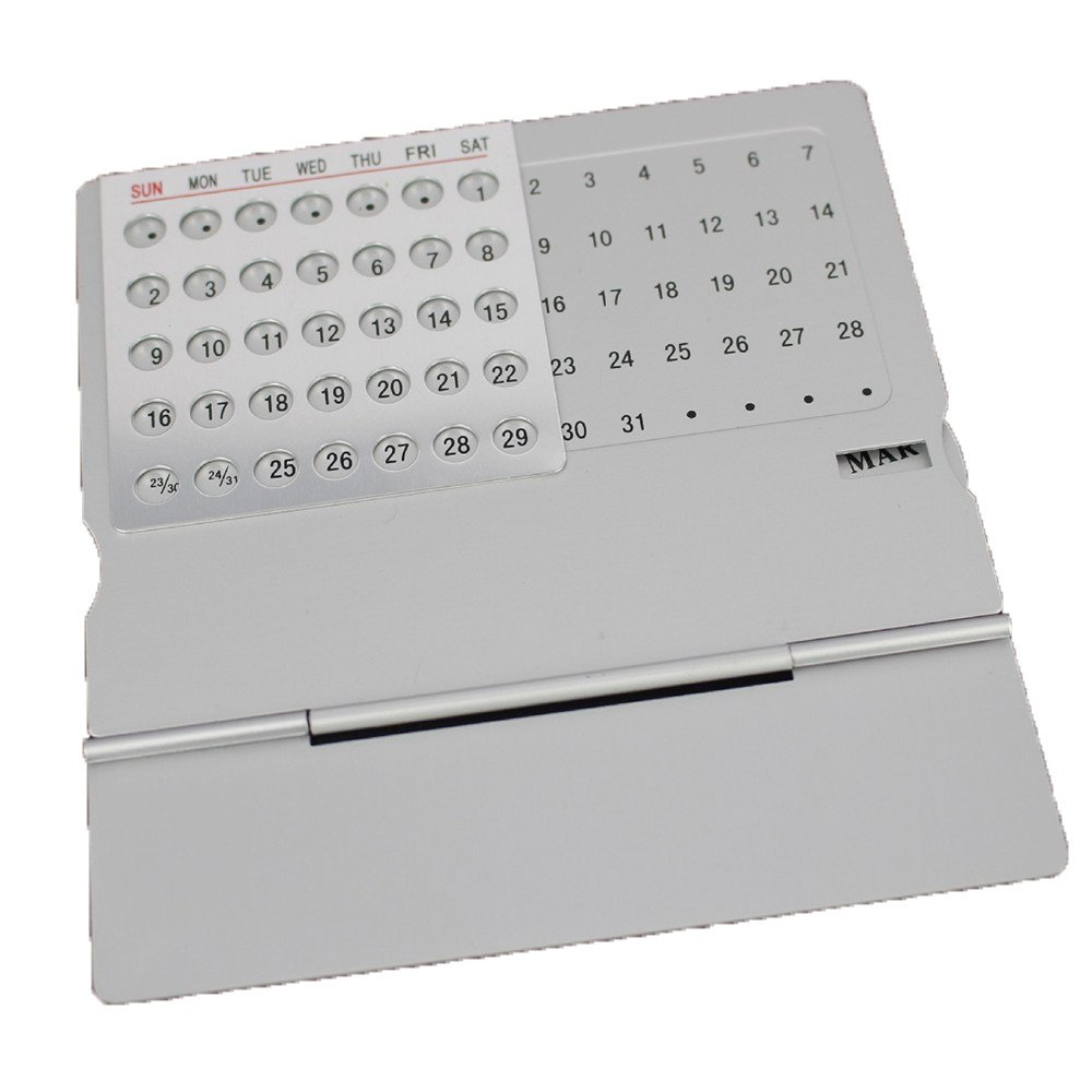 Gbell Large Desk Calendar, Super Perpetual 100 Year,Home Office Desk Supplies (Silver)