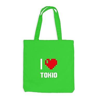 Jute Sacs I Love Tokyo Le Japon Voyage Cœur Heart Pixels