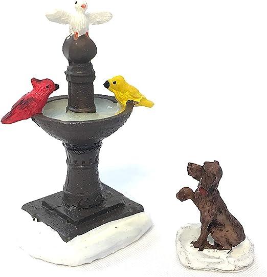 Gris baño del pájaro casa de muñecas en miniatura accesorio de animales de jardín al aire libre
