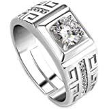 Hosaire 1 Pcs Elegant Diamond Men's Ring Crystal Open Rings Wedding Jewelry For Men Boys-It Can Be adjustable