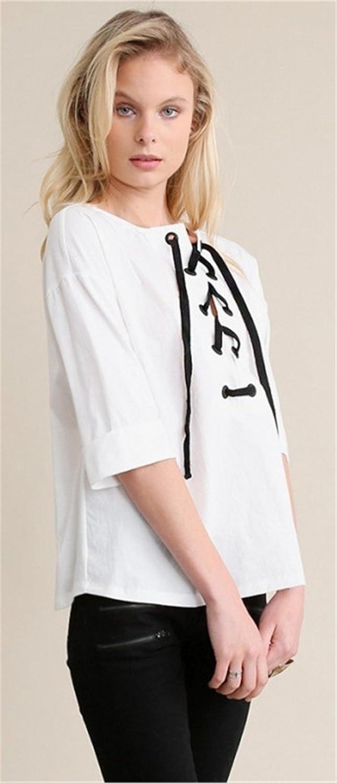BoBajo Ribeteio Boho Chic Campesino Estilo Cordón Cordones Lazada en la Parte Delantera Cuello Media Manga Blusón Blusa Camisero Camiseta Camisa T-Shirt ...
