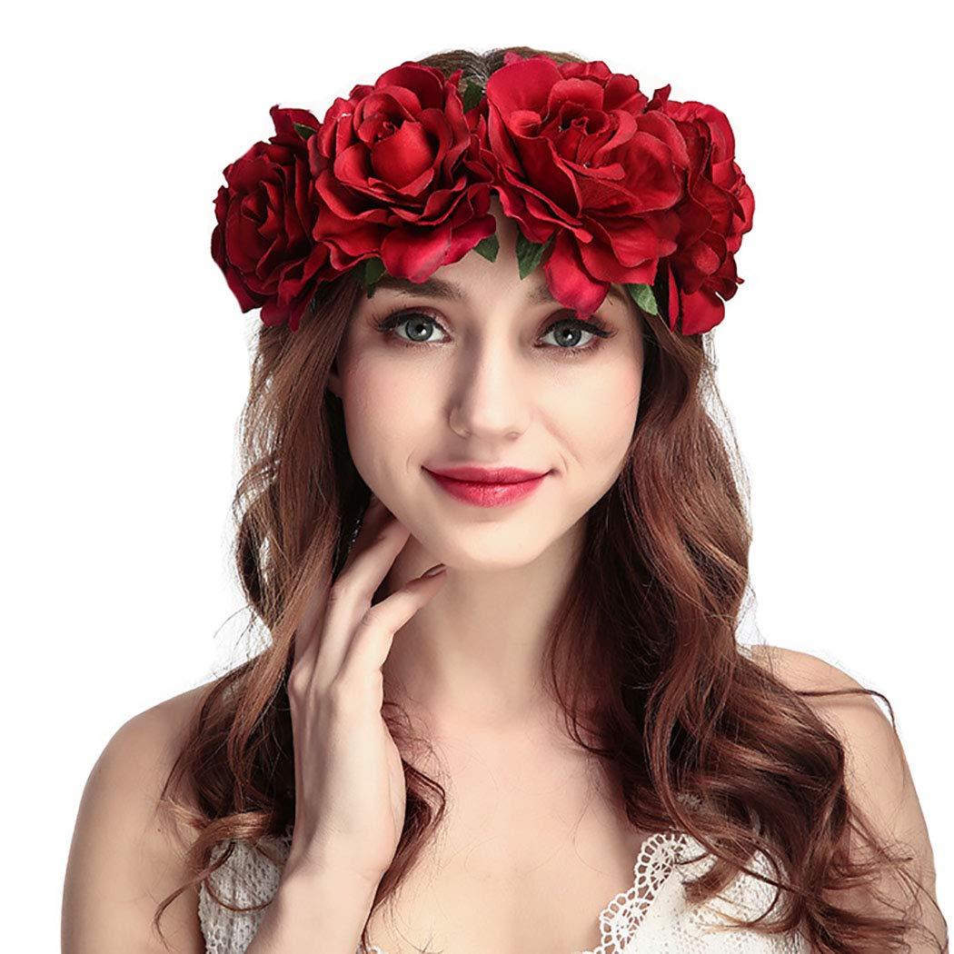 Simsly Boho - Diadema de flores para mujer, diseño floral, color ...