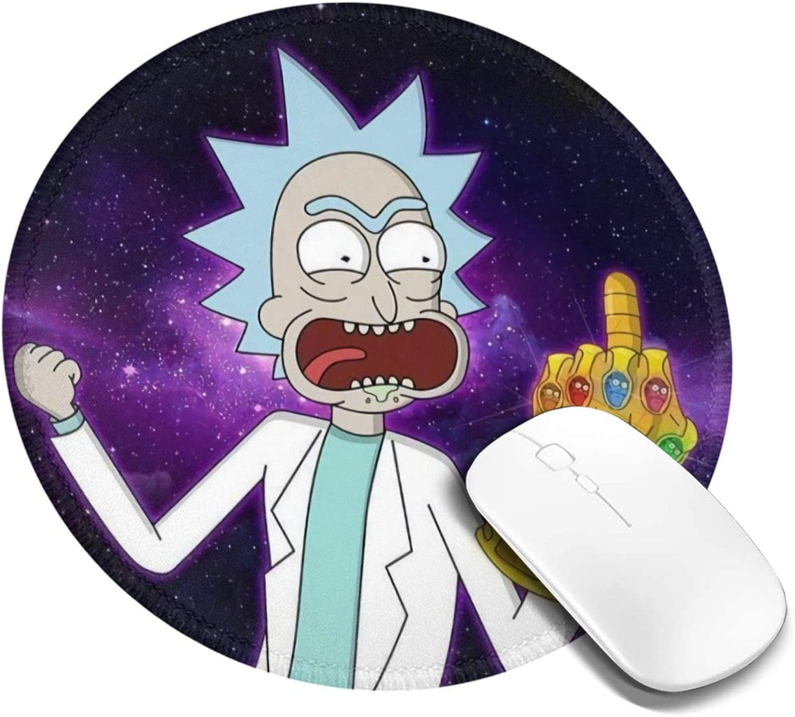 Thanos Infinity Gauntlet Rick Morty Cartoon Mouse Pad Mat Gaming Round Unique Custom Mousepad, Computer, Stitched Edges, Office Ideal for Desk Cover, Laptop and PC