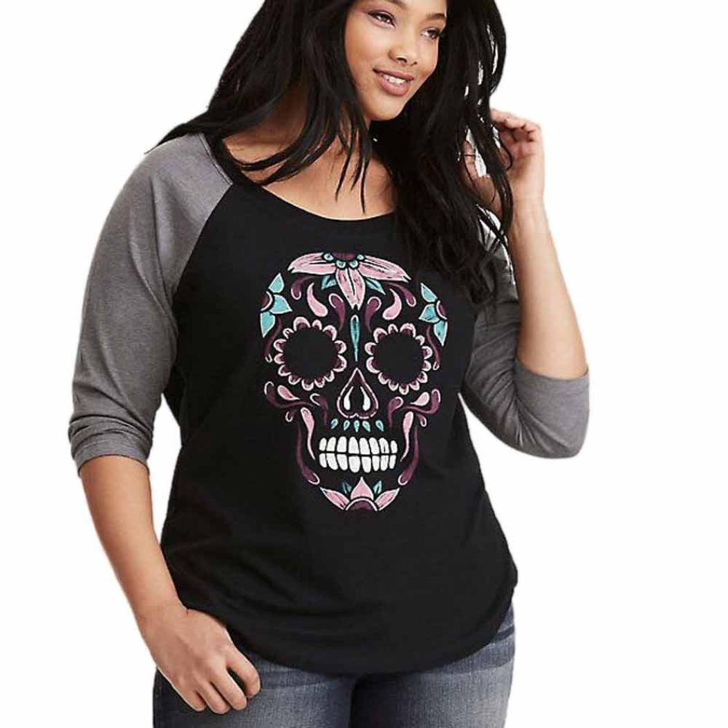 Sumen Women Plus size Skull Printed O-Neck Baseball T-Shirt Casual Sweatshirt