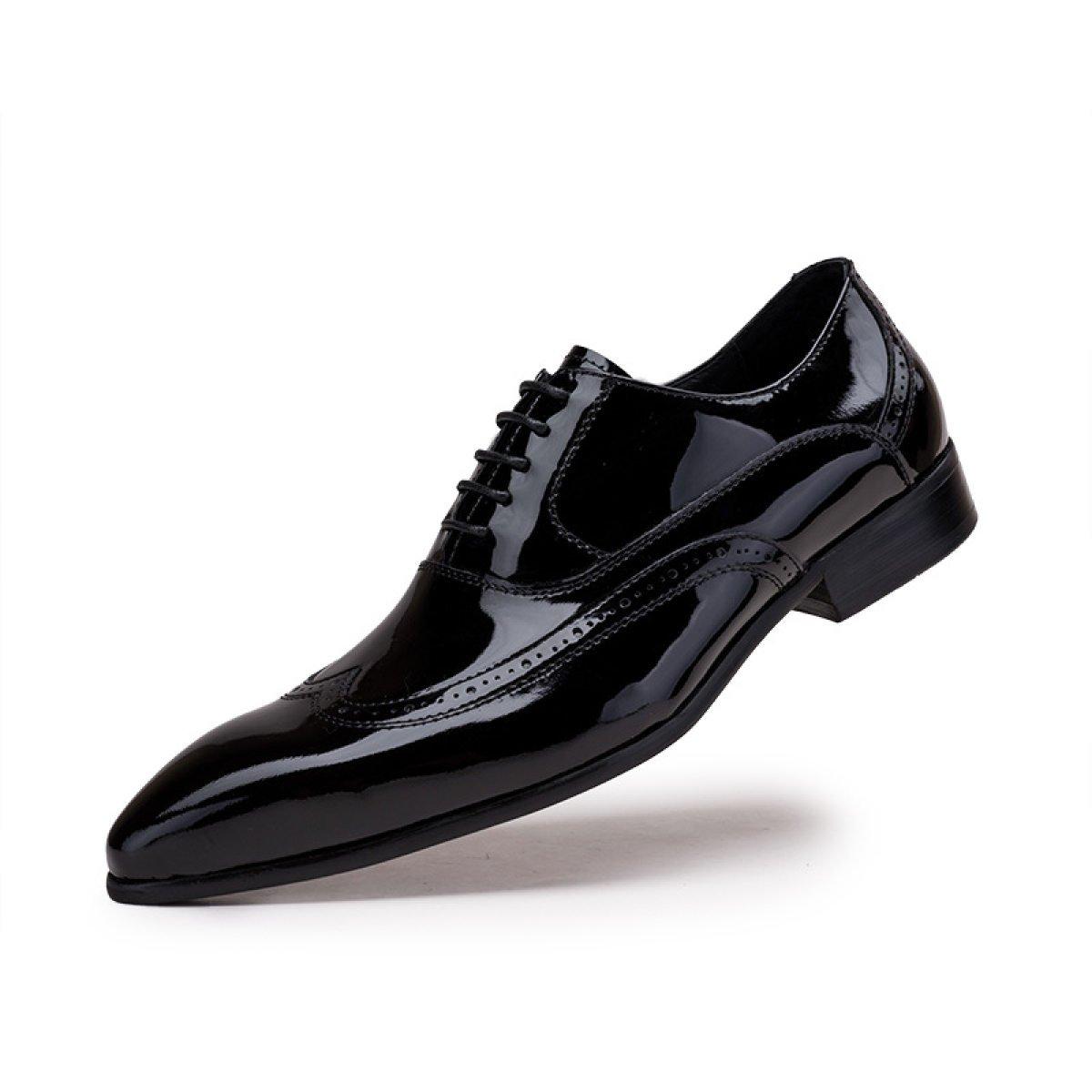 GRRONG Zapatos De Cuero Para Hombres Negocios Vestido Formal Puntiagudo 40 EU|Black