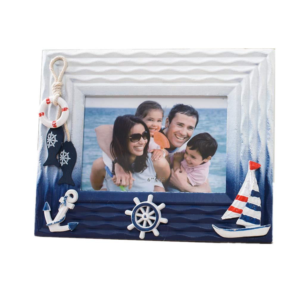 MUAMAX 6x4 Inch Nautical Picture Frames Decorative Vertical Sculptural Photo Holder Children Room Starfish Beach Themed Home Décor Accessory (White Fish) by MUAMAX