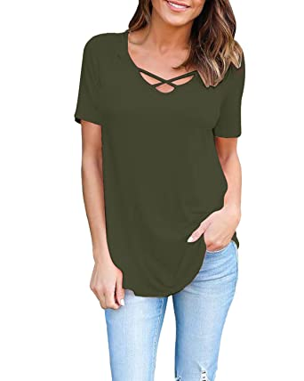 7338844e08151 ZANZEA Women s Crisscross Lace up Front V Neck Short Sleeve T Shirt Tops  Blouse Army Green