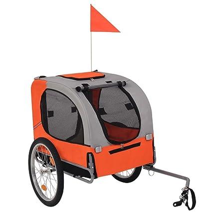 Festnight 10,4 kg Remolque de Bicicleta para Perros,Gris y Naranja
