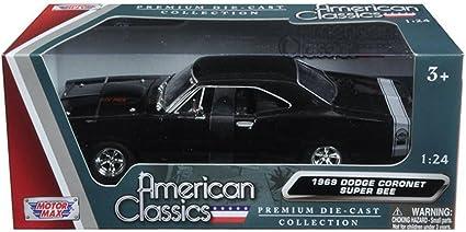 Motormax 73315AC-BK 1969 Dodge Coronet Super Bee Black 1/24 Diecast Model Car