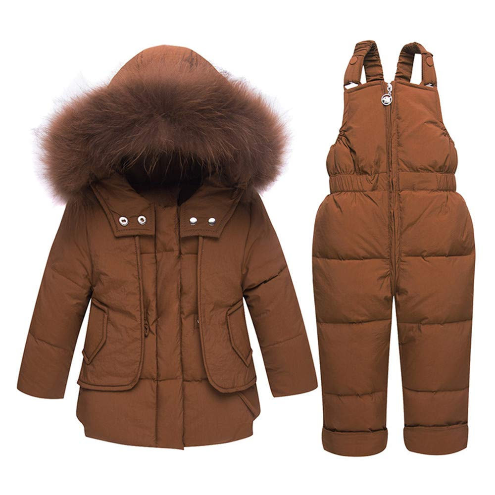ZPW Baby Toddler Boys' Winter 2-Piece Snowsuit Fur Hooded Jacket/Snow Bib Pants