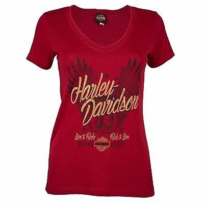 Sturgis Harley-Davidson Women's Winged Rider Scarlet Short Sleeve Shirt