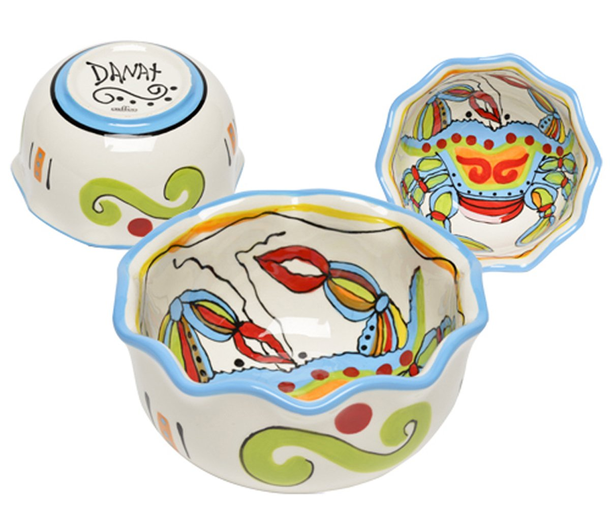 Christmas Tablescape Décor - Small ceramic whimsical crab multicolor serving bowl by Dana Wittmann