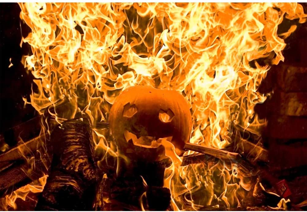 Halloween Background 7x5ft Yellow Roaring Flame Polyester Photography Backdrop Grimace Pumpkin Blaze Fire Flame Burning Wood Hallowmas Night Holiday Party Baby Kids Photo Prop Studio Poster