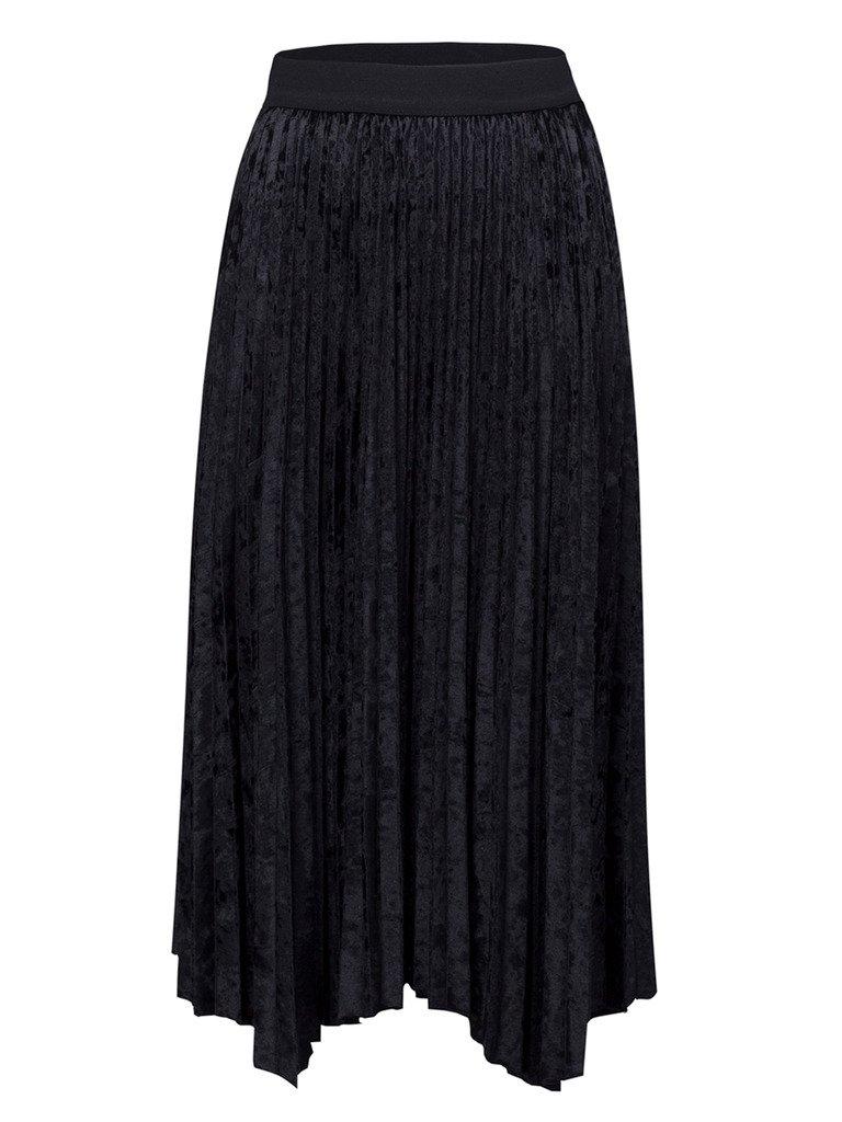 CHARLES RICHARDS Women's Solid Velvet High Waist Pleated Midi Calf Skirt
