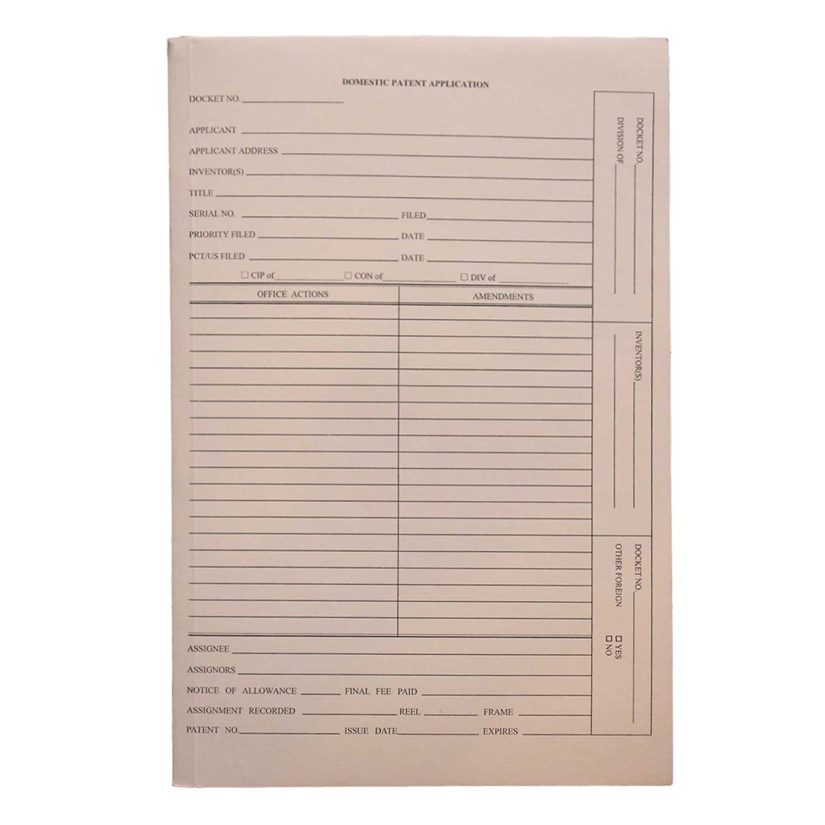 Patent and Trademark Folder, No Tab for Drawer Filing, Manila - ''DOMESTIC PATENT APPLICATION'' (Box of 25)