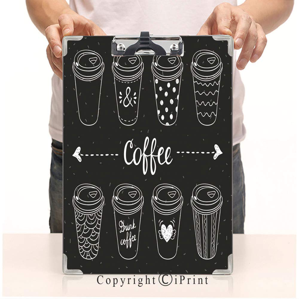 """Printed Standard Size Paperboard Clipboard Profile Clip,8.85"""" x12.59""""Office Workers use,Coffee Paper Cups Coffee to go Hand Drawn Vector Set"""