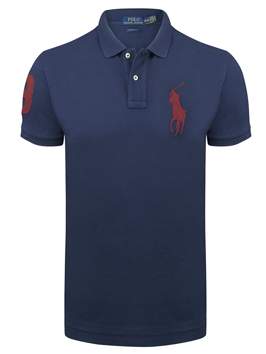 bfd0648ca2d618 Ralph Lauren Polo Men´s Polo Shirt Red Big Pony Slim Fit Newport Navy (S)   Amazon.co.uk  Clothing