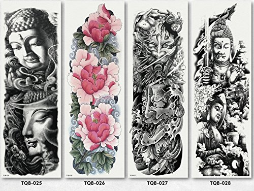 Temporary Tattoos Full Arm Tattoo Body Stickers for Man Women 4 Sheets Style 07 (Religious Tattoos Jesus)