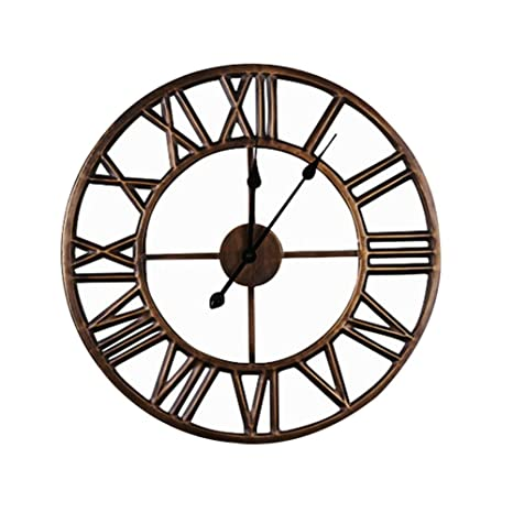 0e62bc46c794 Wall clocks Metal Iron Large Traditional Vintage Style With Roman Numerals  Stylish And Elegant Open Back